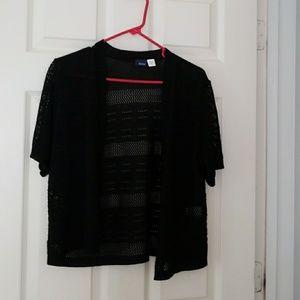 Short sleeve, open knit sweater/jacket